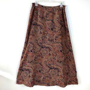 Talbots Sz 10 Silk Midi Skirt Paisley Flare Lined